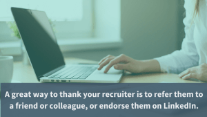 woman thanking recruiter through linkedin relationship